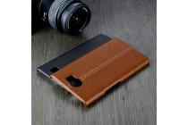 Фирменная роскошная задняя панель-крышка обтянутая импортной кожей для BlackBerry Priv коричневая
