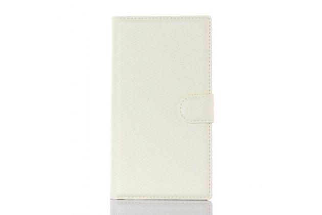 Фирменный чехол-книжка из качественной импортной кожи с подставкой застёжкой и визитницей для Блэкберри Прив белый