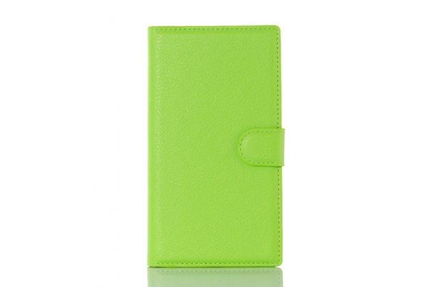 Фирменный чехол-книжка из качественной импортной кожи с подставкой застёжкой и визитницей для Блэкберри Прив зеленый
