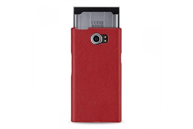 Фирменный  умный оригинальный вертикальный откидной чехол-флип для BlackBerry Priv красный из натуральной кожи с функцией засыпания  Prestige Италия