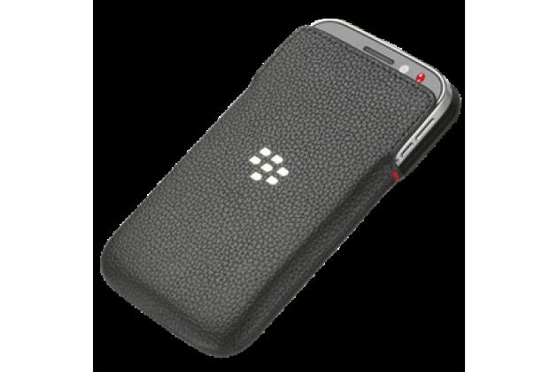 Фирменный оригинальный подлинный чехол-кобура с логотипом  клипсой и магнитным датчиком Leather Pocket для BlackBerry Q20 Classic из натуральной кожи черного цвета