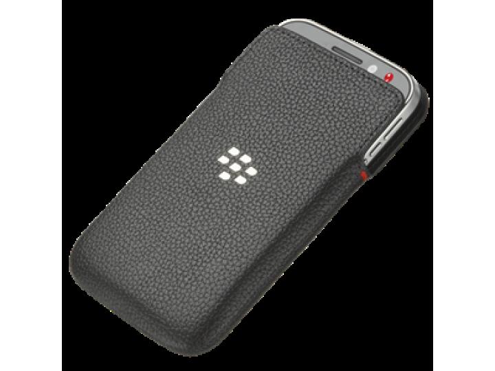 Фирменный оригинальный подлинный чехол-кобура с логотипом  клипсой и магнитным датчиком Leather Pocket для Bla..