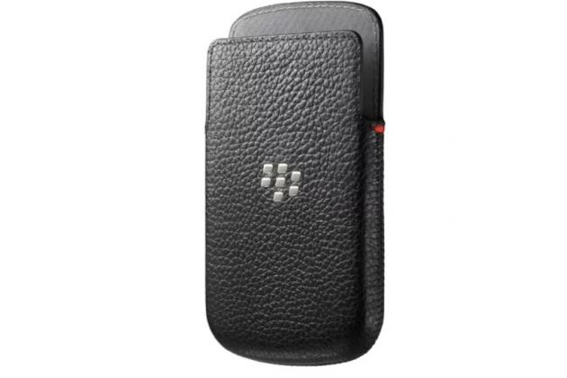 Фирменный оригинальный подлинный чехол-кобура с логотипом Leather Pocket Case для Blackberry Q5 из натуральной кожи черного цвета