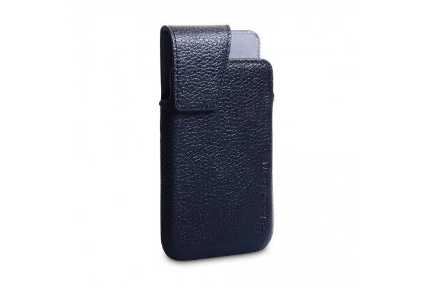 Фирменный оригинальный подлинный чехол-кобура с логотипом и клипсой Leather Swivel Holster для Blackberry Z10 из натуральной кожи черного цвета