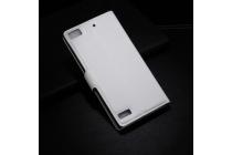 Фирменный чехол-книжка из качественной импортной кожи с подставкой застёжкой и визитницей для BlackBerry Z3 белого цвета.