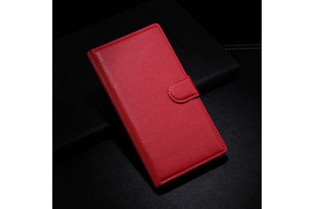 Фирменный чехол-книжка из качественной импортной кожи с подставкой застёжкой и визитницей для BlackBerry Z3 красного цвета.
