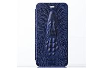 Фирменный роскошный эксклюзивный чехол с объёмным 3D изображением рельефа кожи крокодила синий для BlackBerry Z3 . Только в нашем магазине. Количество ограничено