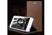 Фирменный премиальный чехол книжка бизнес класса для Blackberry Z30 из натуральной водоотталкивающей рельефной кожи коричневый