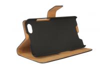 Фирменный чехол-книжка из качественной импортной кожи с подставкой застёжкой и визитницей для Blackberry Z30 черный