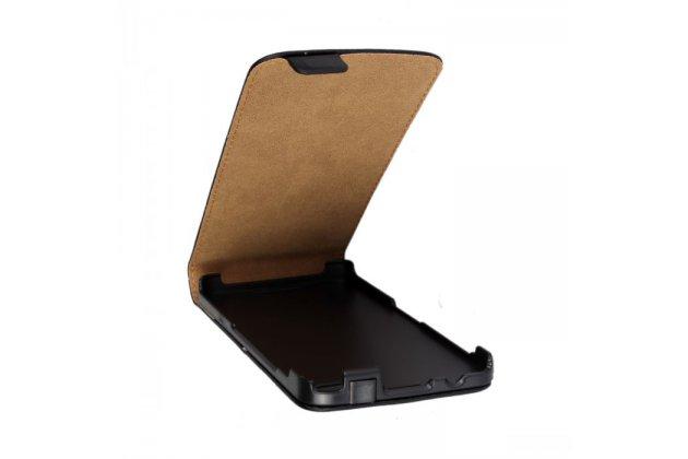 Фирменный оригинальный вертикальный откидной чехол-флип для Blackberry Z30 черный из натуральной кожи Prestige Италия