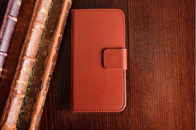 Фирменный премиальный элитный чехол-книжка из качественной импортной кожи с мульти-подставкой и визитницей для Blackview A5 коричневый