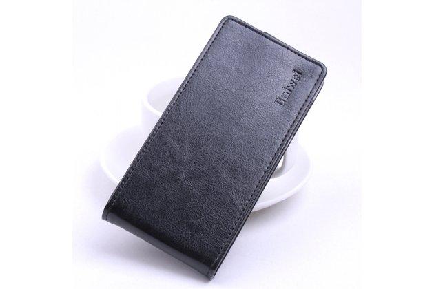 Фирменный оригинальный вертикальный откидной чехол-флип для Blackview A5 черный из натуральной кожи Prestige Италия