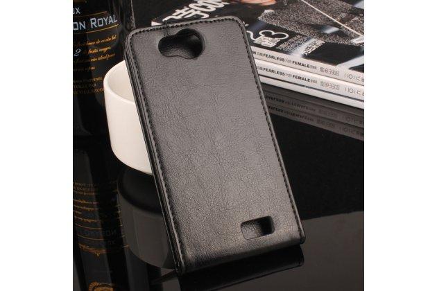Фирменный оригинальный вертикальный откидной чехол-флип для Blackview A5 зеленый из натуральной кожи Prestige Италия