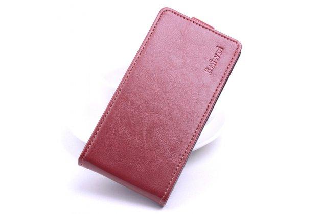 Фирменный оригинальный вертикальный откидной чехол-флип для Blackview A5 коричневый из натуральной кожи Prestige Италия