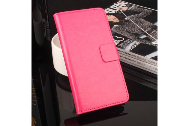 Фирменный премиальный элитный чехол-книжка из качественной импортной кожи с мульти-подставкой и визитницей для Blackview A5 розовый