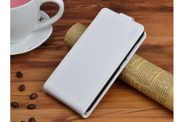 Фирменный оригинальный вертикальный откидной чехол-флип для Blackview A8 белый из натуральной кожи Prestige