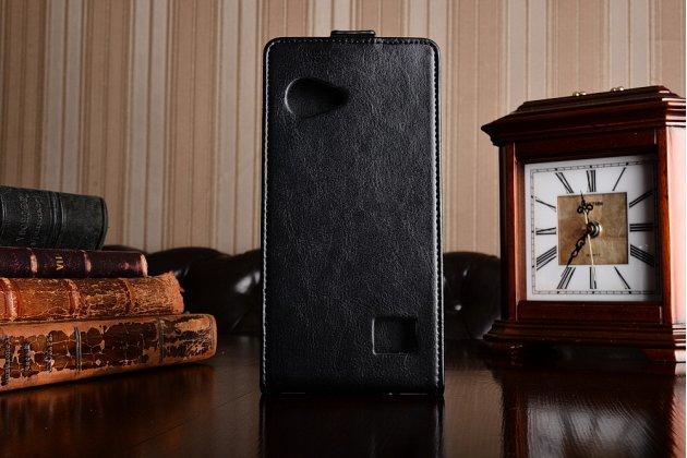 Фирменный оригинальный вертикальный откидной чехол-флип для Blackview BV6000 черный из натуральной кожи Prestige Италия с золотым узором