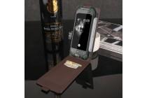 Фирменный оригинальный вертикальный откидной чехол-флип для Blackview BV6000 черный из натуральной кожи Prestige Италия