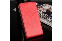 Фирменный оригинальный вертикальный откидной чехол-флип для Blackview BV6000 красный из натуральной кожи Prestige Италия