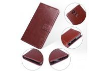 Фирменный чехол-книжка из качественной импортной кожи с застёжкой и мультиподставкой для Blackview P2 Lite коричневый