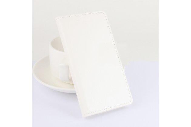 Фирменный чехол-книжка из качественной импортной кожи с мульти-подставкой застёжкой и визитницей для Блеквиев Р7 белый