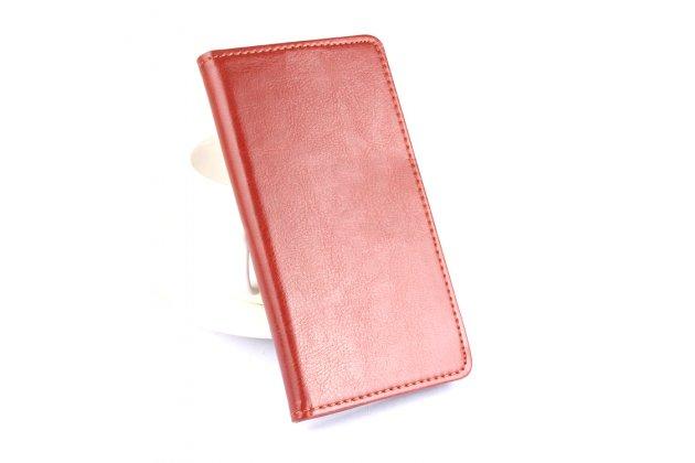 Фирменный чехол-книжка из качественной импортной кожи с подставкой застёжкой и визитницей для Блеквиев Р7 коричневый