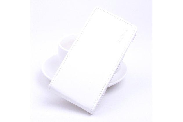 Фирменный оригинальный вертикальный откидной чехол-флип для Blackview R7 белый из натуральной кожи Prestige
