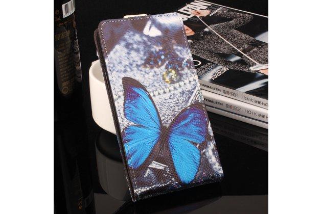 Фирменный вертикальный откидной чехол-флип для  Blackview R7 тематика Голубая Бабочка