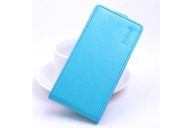 Фирменный оригинальный вертикальный откидной чехол-флип для Blackview Ultra A6 /Ultra Plus A6S голубой из натуральной кожи Prestige