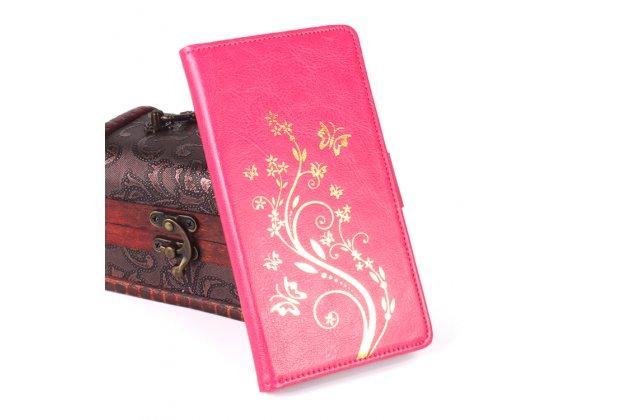 Фирменный уникальный необычный чехол-подставка для Blackview Ultra A6 /Ultra Plus A6S розовый тематика Золотое Цветение