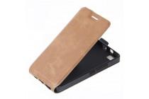 Фирменный оригинальный вертикальный откидной чехол-флип для BQ Aquaris M5.5/16GB 2GB RAM/16GB 3GB RAM/32GB 3GB RAM коричневый из натуральной кожи Prestige Италия