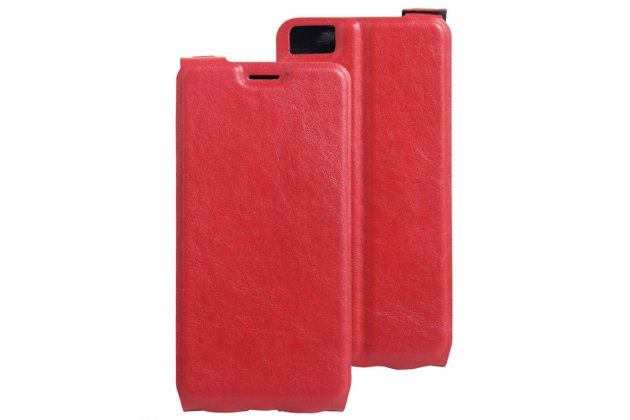 Фирменный оригинальный вертикальный откидной чехол-флип для BQ Aquaris M5.5/16GB 2GB RAM/16GB 3GB RAM/32GB 3GB RAM красный из натуральной кожи Prestige Италия