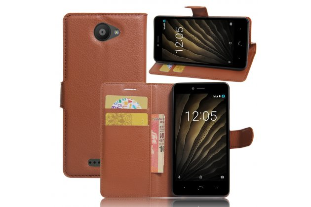 Фирменный чехол-книжка из качественной импортной кожи с подставкой застёжкой и визитницей для  BQ Aquaris U Lite коричневого цвета
