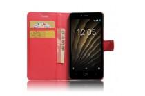 Фирменный чехол-книжка из качественной импортной кожи с подставкой застёжкой и визитницей для BQ Aquaris U Lite красного цвета.