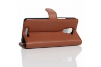 """Фирменный чехол-книжка из качественной импортной кожи с подставкой застёжкой и визитницей для BQ Aquaris U Plus"""" коричневый"""