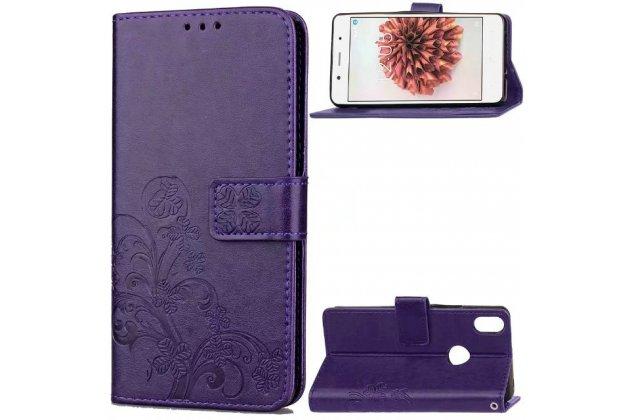 Фирменный чехол-книжка из качественной импортной кожи с подставкой застёжкой и визитницей для BQ Aquaris X5 Plus/BQ Aquaris X5 Plus 16Gb/BQ Aquaris X5 Plus 32Gb фиолетового цвета с узором