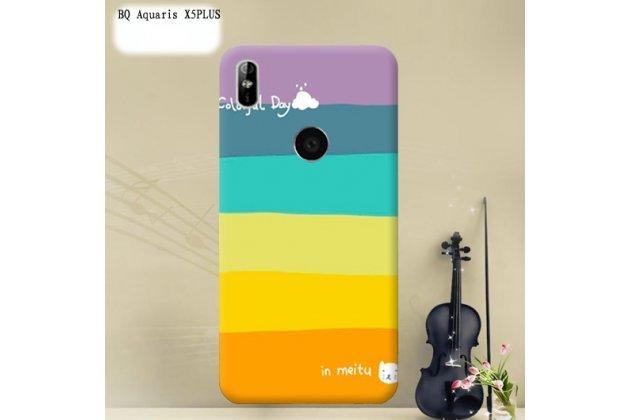 Фирменная роскошная задняя панель-чехол-накладка из мягкого силикона с объемным  3D изображением  на BQ Aquaris X5 Plus c с безумно красивым рисунком  Все цвета радуги