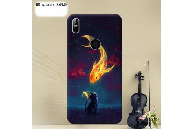 Фирменная роскошная задняя панель-чехол-накладка из мягкого силикона с объемным  3D изображением  на BQ Aquaris X5 Plus c с безумно красивым рисунком  Золотая рыбка