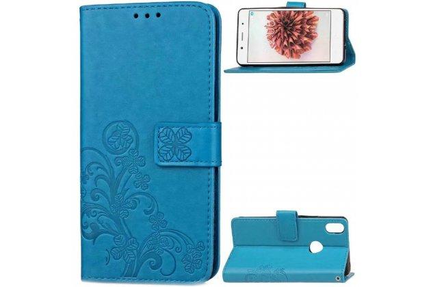 Фирменный чехол-книжка из качественной импортной кожи с подставкой застёжкой и визитницей для BQ Aquaris X5 Plus/BQ Aquaris X5 Plus 16Gb/BQ Aquaris X5 Plus 32Gb синего цвета с узором