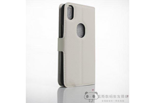 Фирменный премиальный элитный чехол-книжка из качественной импортной кожи с мульти-подставкой и визитницей для BQ Aquaris X5 Plus белый