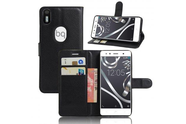 Фирменный премиальный элитный чехол-книжка из качественной импортной кожи с мульти-подставкой и визитницей для BQ Aquaris X5 Plus Черный