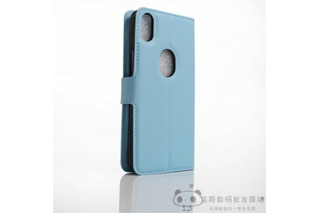 Фирменный премиальный элитный чехол-книжка из качественной импортной кожи с мульти-подставкой и визитницей для BQ Aquaris X5 Plus голубой
