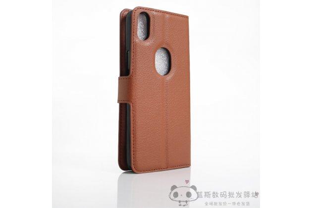 Фирменный премиальный элитный чехол-книжка из качественной импортной кожи с мульти-подставкой и визитницей для BQ Aquaris X5 Plus коричневый