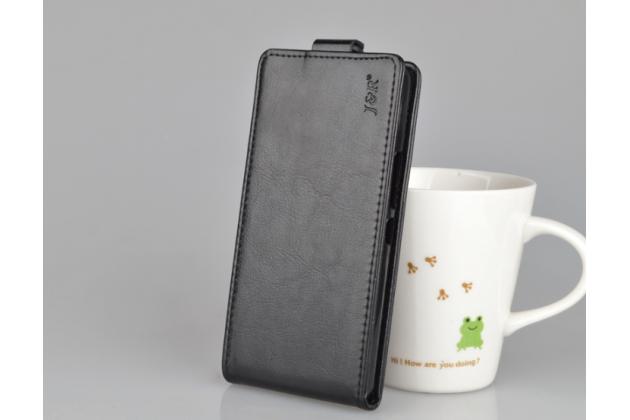 Фирменный оригинальный вертикальный откидной чехол-флип для BQ Aquaris X5 Cyanogen Edition/ X5 Android Version 16Gb/32Gb черный из натуральной кожи Prestige