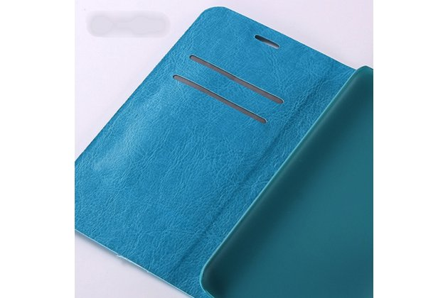 Фирменный чехол-книжка из качественной импортной кожи с подставкой застёжкой и визитницей для BQ Aquaris X5 Cyanogen Edition/ X5 Android Version 16Gb/32Gb голубой