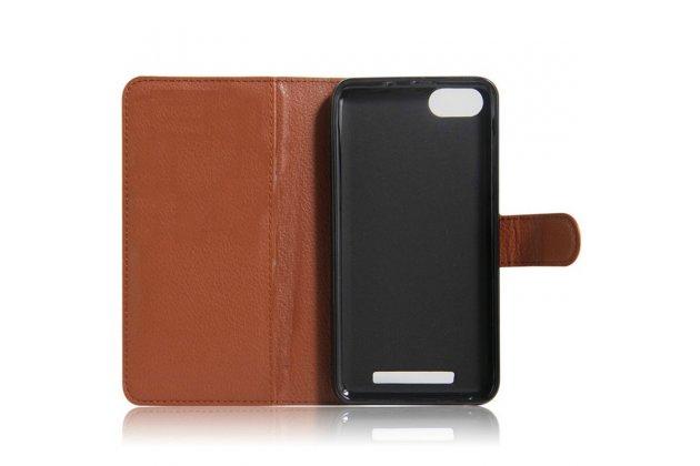 Фирменный чехол-книжка из качественной импортной кожи с подставкой застёжкой и визитницей для  BQ BQS-5020 Strike / BQ Mobile BQS-5020 Strike коричневый
