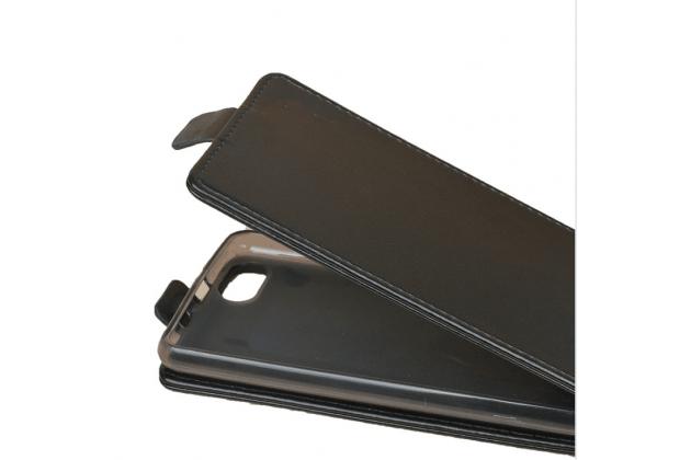 Фирменный оригинальный вертикальный откидной чехол-флип для BQ BQS-5020 Strike / BQ Mobile BQS-5020 Strike черный из натуральной кожи Prestige Италия