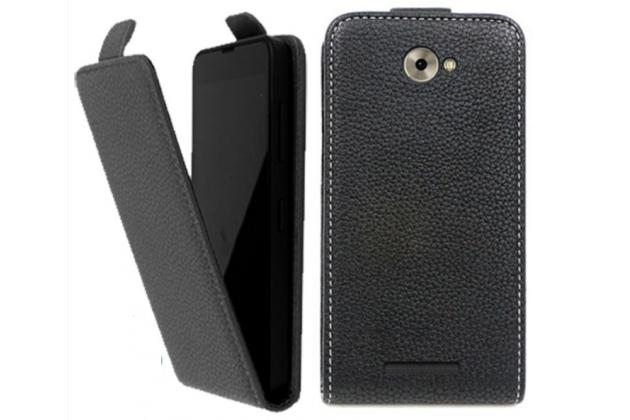 Фирменный оригинальный вертикальный откидной чехол-флип для BQ BQS-5070 Magic черный из натуральной кожи Prestige Италия