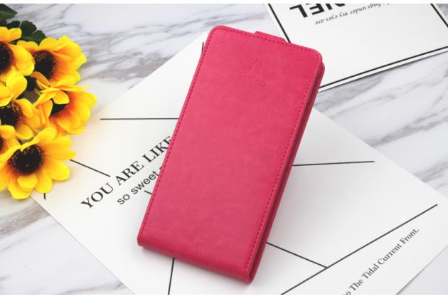 Фирменный оригинальный вертикальный откидной чехол-флип для BQ Mobile BQS-5505 Amsterdam розовый из натуральной кожи Prestige Италия