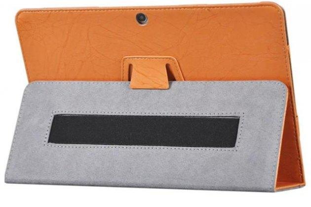 Фирменный чехол закрытого типа с красивым узором для планшета Chuwi Hi10 Plus   с держателем для руки оранжевый натуральная кожа  Италия
